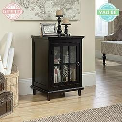 Home End Side Table Solid Wood Feet Rectangle Tempered Glass
