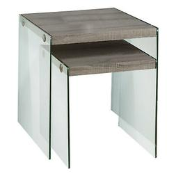 Monarch I 3053 Reclaimed-Look 2-Piece Nesting Table - Dark T