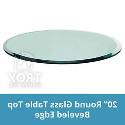 "20"" Inch Round Glass Table Top, 1/2 Thick, Beveled Edge, Tem"