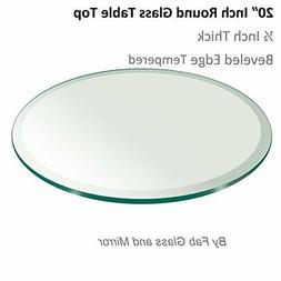 """20"""" Inch Round Glass Table Top 1/2"""" Thick Tempered Beveled E"""