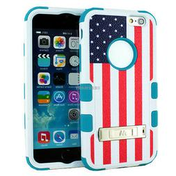 For iPhone 6 Rubber Hybrid Armor Stand Case Cover Pattern+Te