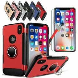 For iPhone X Ring Stand Hybrid Slim Case Cover + Tempered Gl
