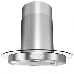 "30"" Island Mount Stainless Steel Tempered Glass Kitchen Vent"
