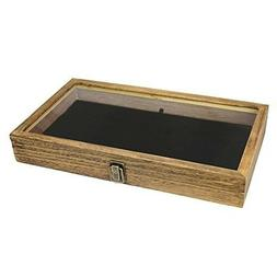 Jewelry Wooden Display Box Tempered Glass Top Lid Pad Displa