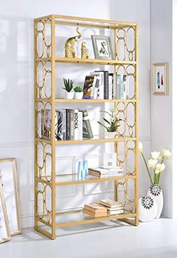 Acme Julos Etagere Bookcase in Clear Glass and Gold