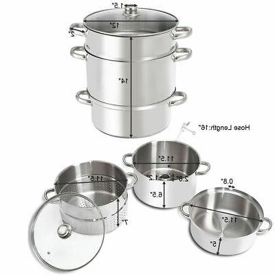 11-Quart Stainless Steel Fruit Juicer w/ Tempered Glass Lid