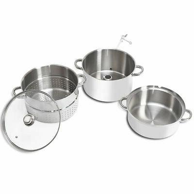 11-Quart Stainless Steel Juicer Steamer Stove w/ Tempered Glass Lid