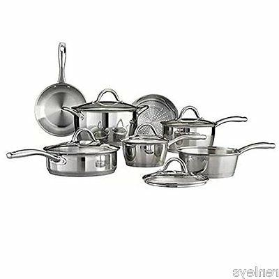 12 Piece Tri-Ply Clad Cookware Set Stainless Steel Silver Go