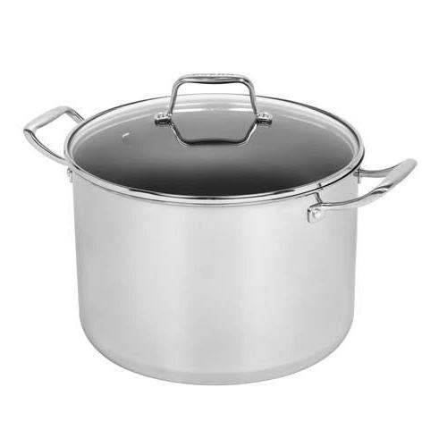 12-Qt Stainless Stock Pot Domed Glass Lid Nonstick