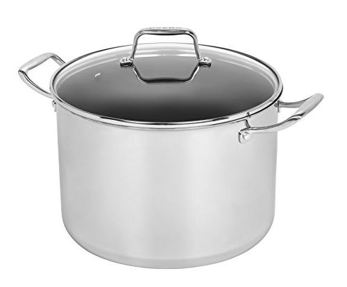 12-Qt Tri-Ply Stainless Steel Stock Pot Domed Tempered Glass