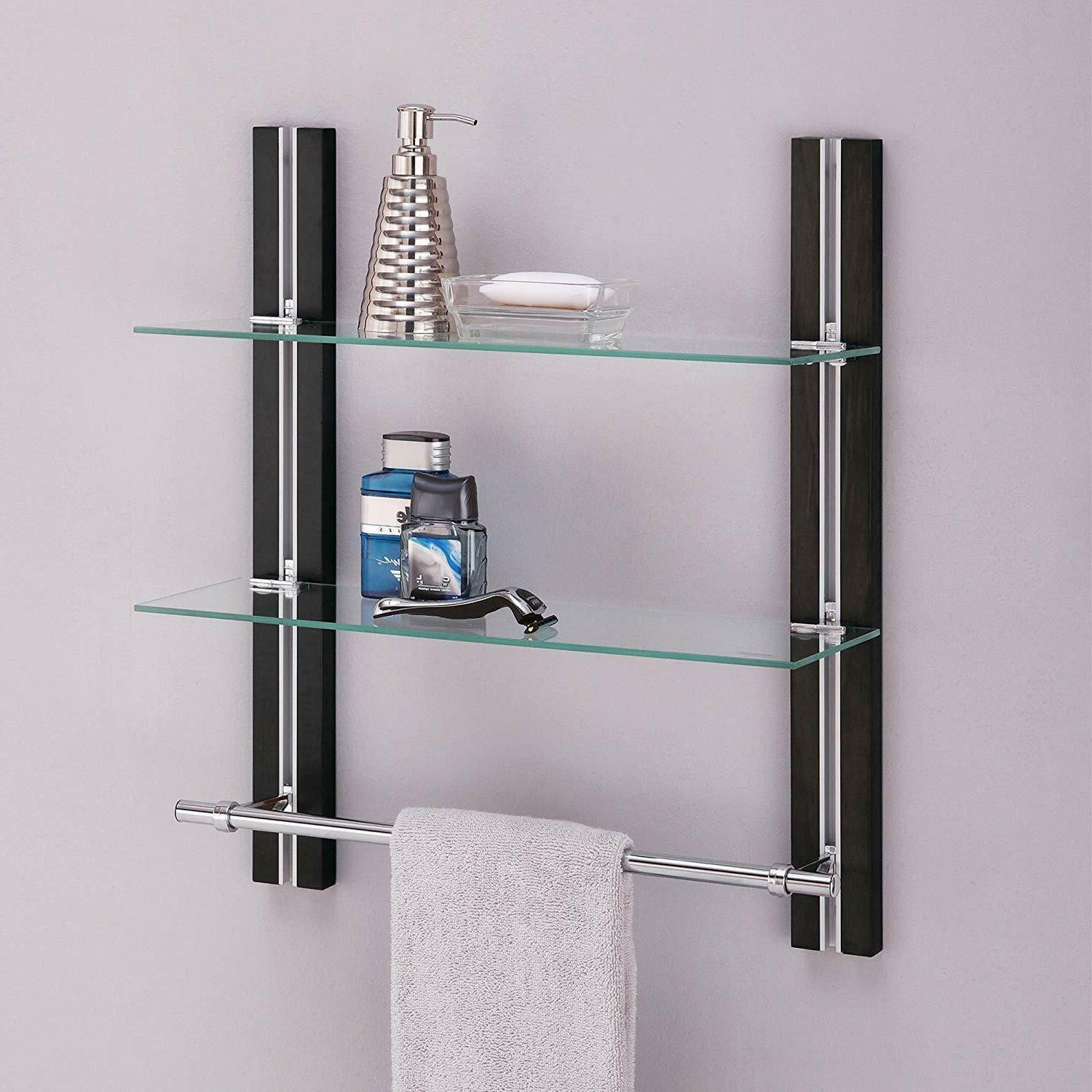 2 Bathroom Tempered Glass Adjustable with Chrome Towel Bar Home Style