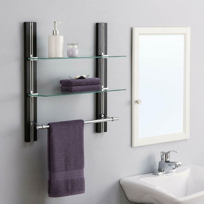 2 Tier Bathroom Tempered Glass Chrome Towel Bar Home