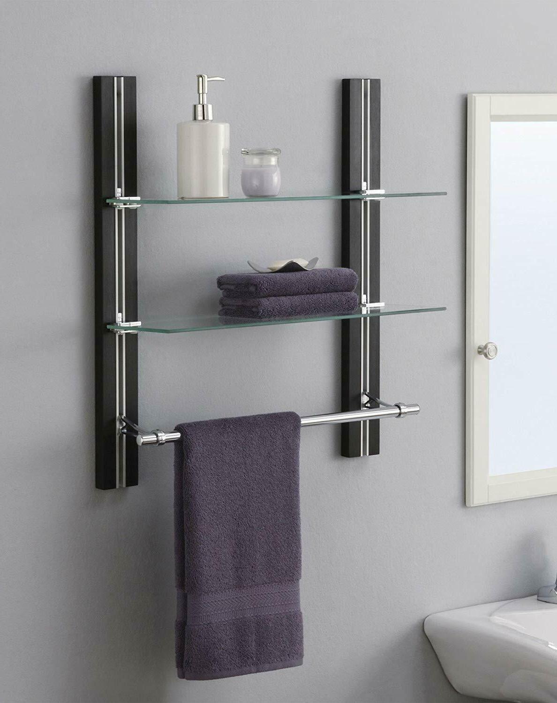 2 tier bathroom shelf tempered glass adjustable