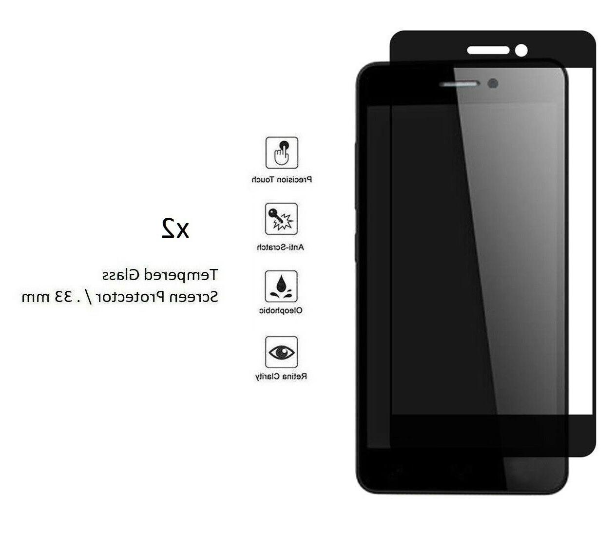2 x black edge tempered glass screen