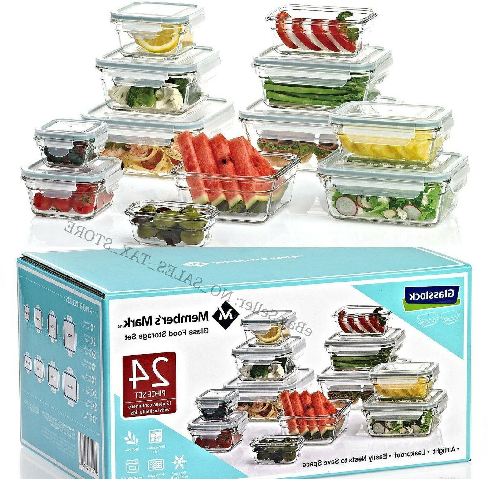 24-Piece Glass Food Storage Tempered Glass Kitchen Set Micro