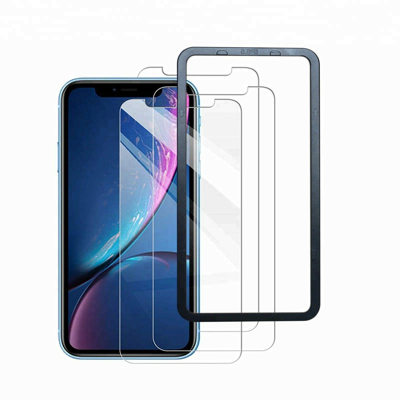 3-Pack Apple XR Tempered Glass Screen Protector Install Tray