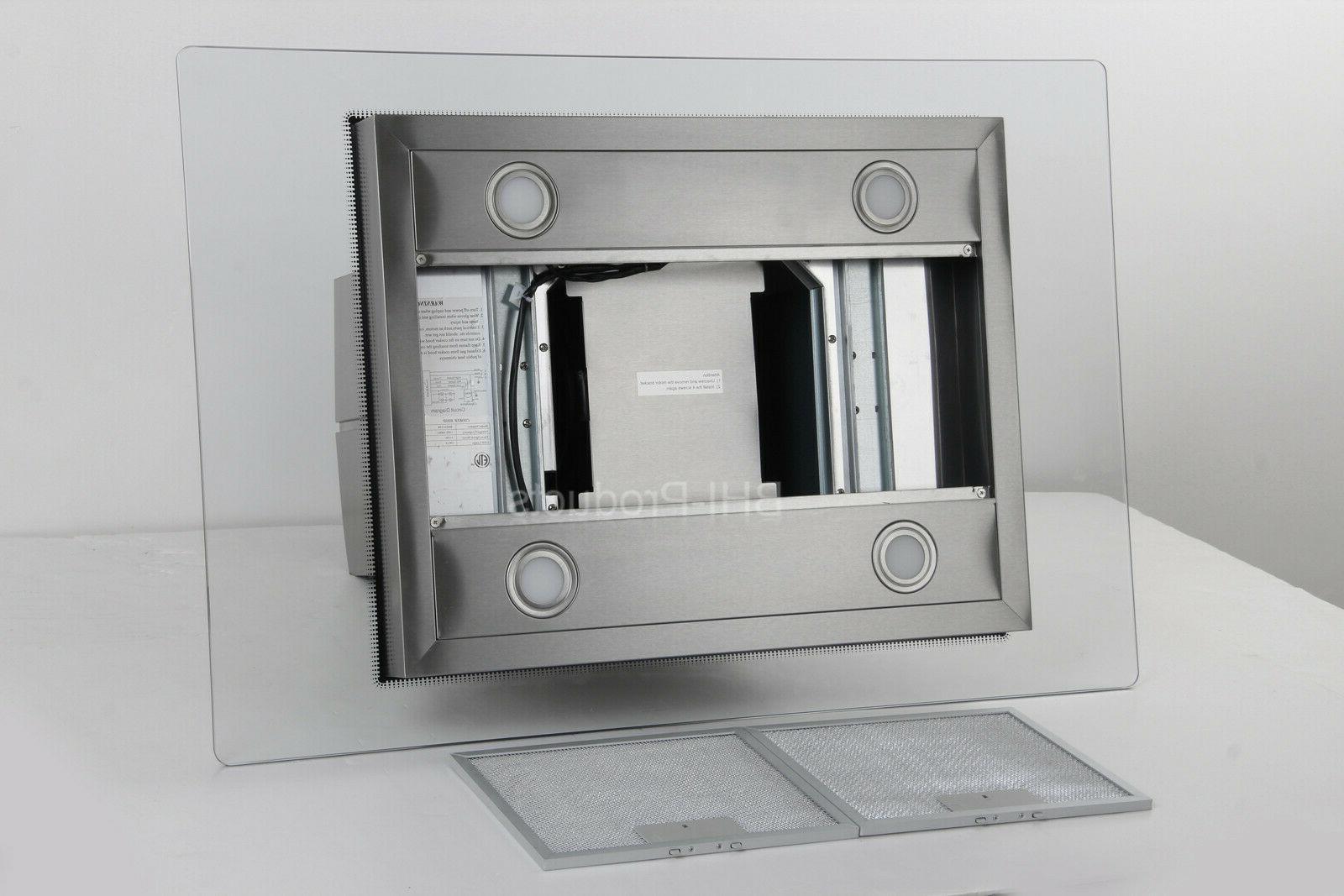 "30"" Stainless Steel Mount Range Hood w/ Tempered Glass Panel"