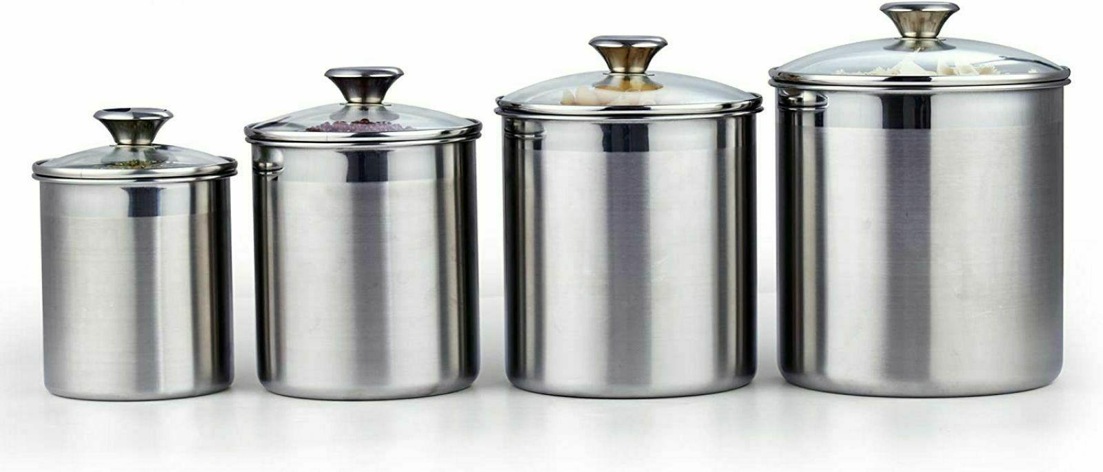 4 Piece Canister Stainless Steel Tempered Glass Lids New
