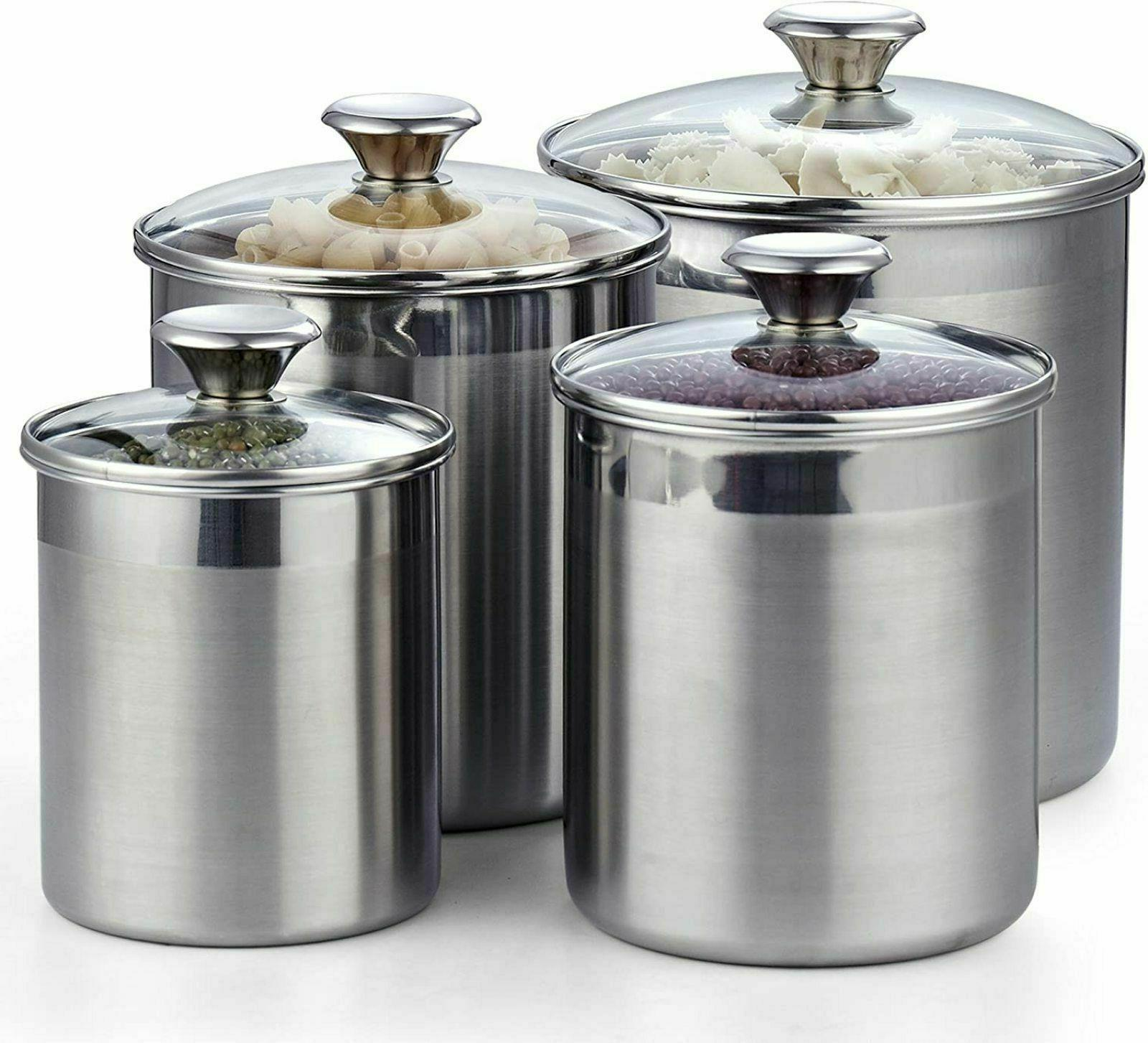 4 Set Stainless Steel Food Tempered Glass Lids New
