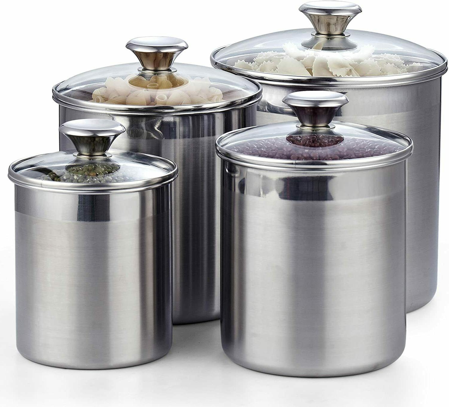 4 piece canister set stainless steel food