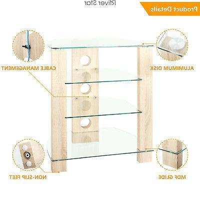 Wood AV Stand Cabinet, Modern Audio-Video Tower