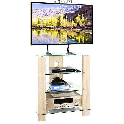 Wood AV Media Stand Stereo Modern Audio-Video