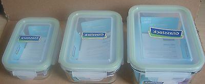 6pc Set Glasslock Tempered Glass Food Storage Containers, Mi