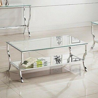 Coaster Home Furnishings 720338 Coffee Table Chrome/Tempered