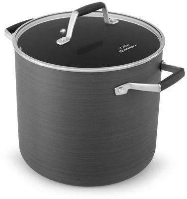 8 Qt Hard Anodized Aluminum Stock Pot Non Stick Tempered Gla