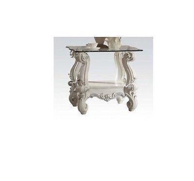 Acme Furniture 82104 Versailles End Table, Bone White & Clea