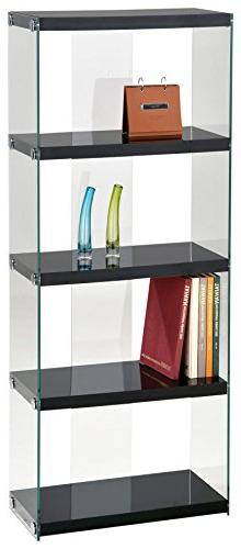 Acme Furniture 92180 Baxter Bookcase, Black & Clear Glass