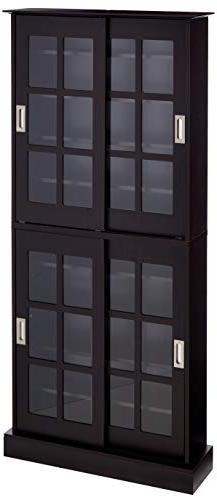 Atlantic 94835757 Windowpane 720 Media Cabinet in Espresso-