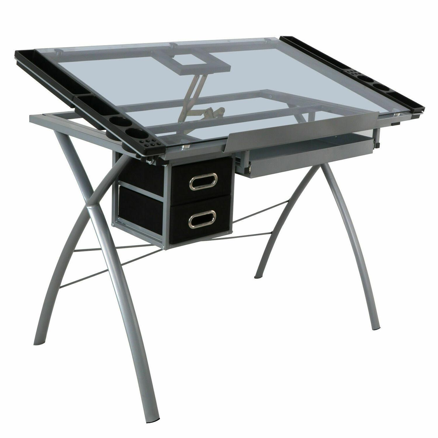 Adjustable Drawing Desk Drafting Table Tempered Glass Top