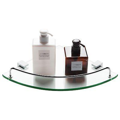 Bathroom Tempered Glass Corner Shelf, Vdomus Stainless Steel