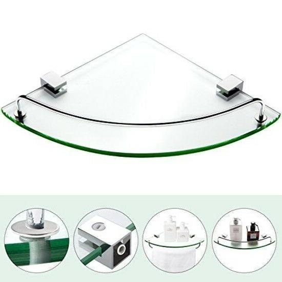 Bathroom Tempered Glass Corner Stainless Steel Shower Shelf