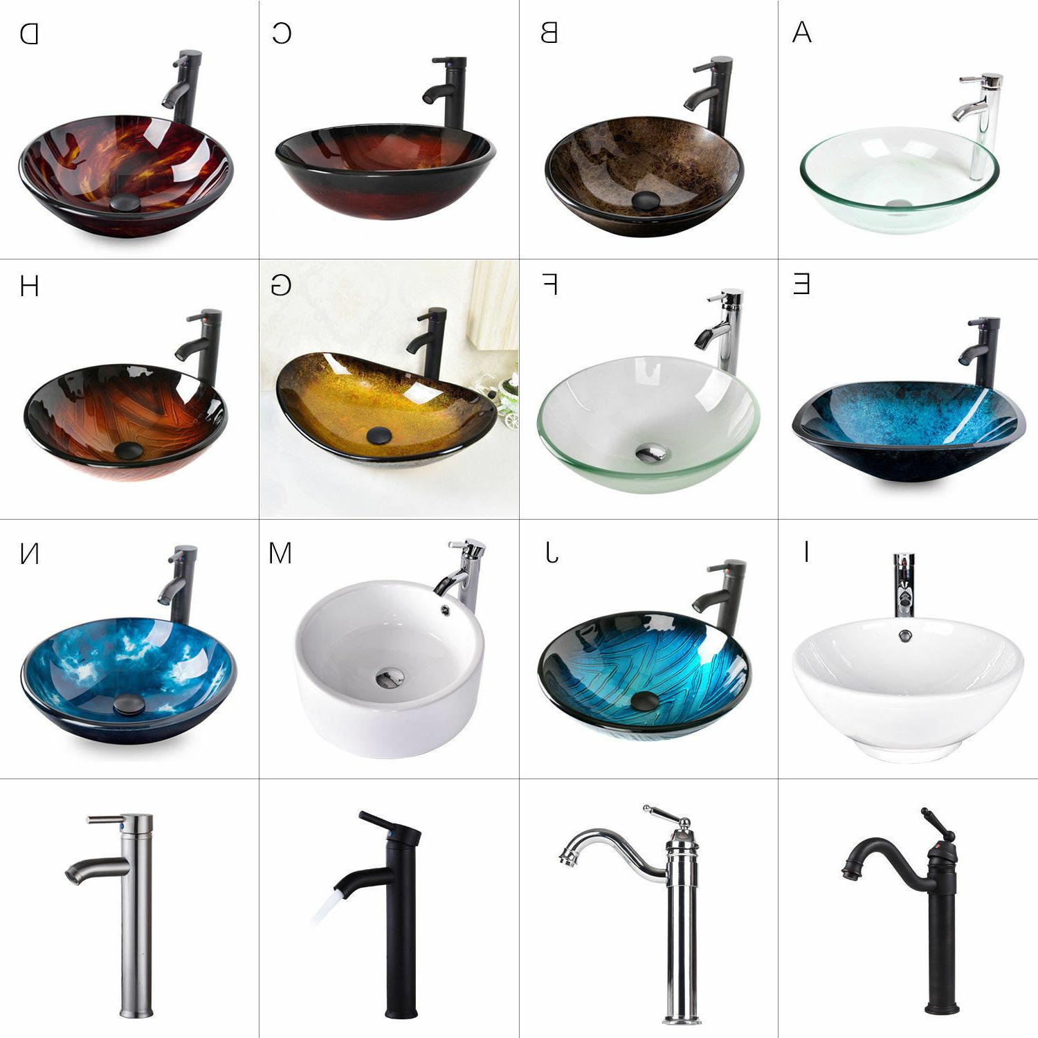 Bathroom Tempered Glass Vessel Sink Faucet Pop-up Drain Bath