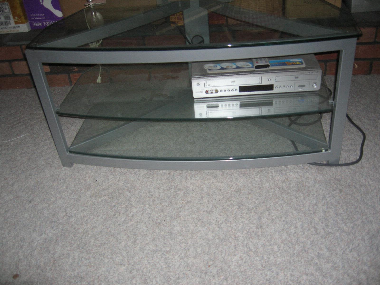 Clear Tempered Glass Tv Stand Up To 50 Inch Holder Entertain