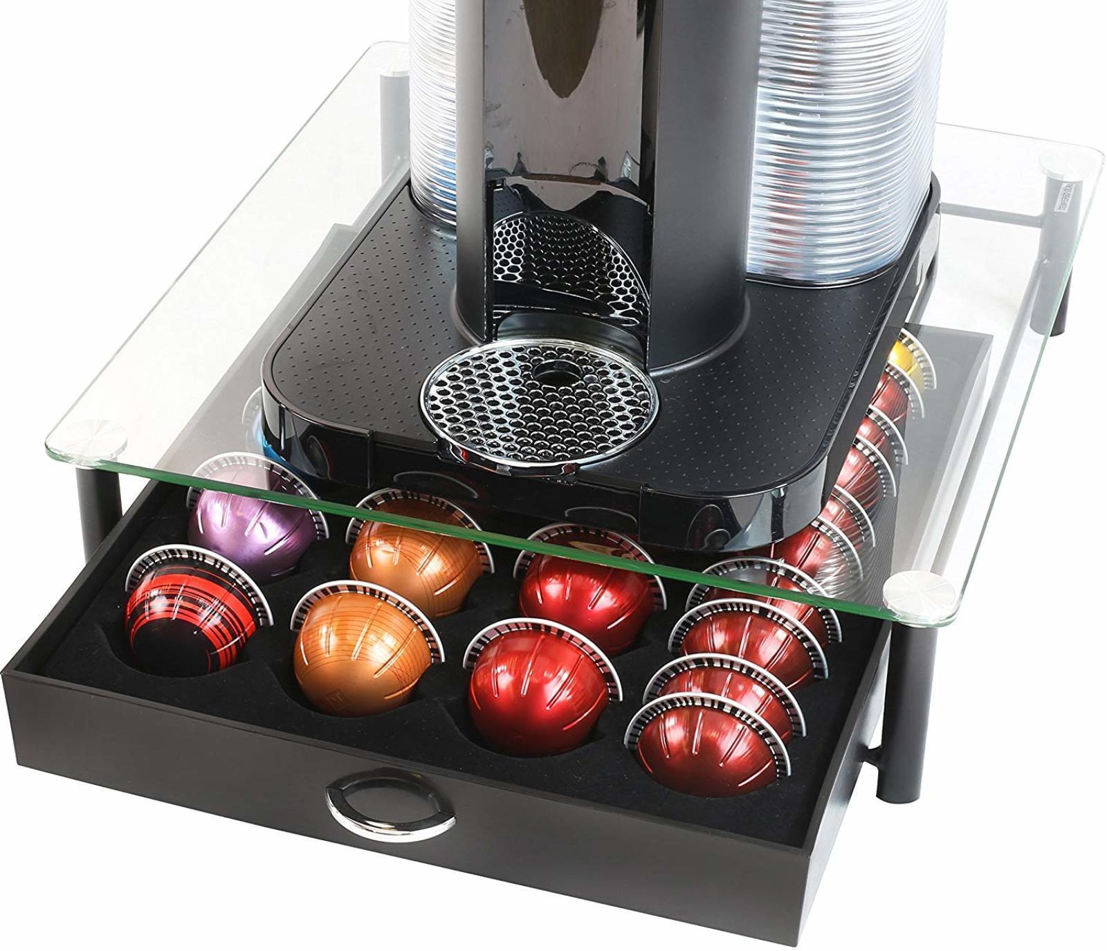 DecoBros Crystal Tempered Glass Nespresso Coffee Storage Dra