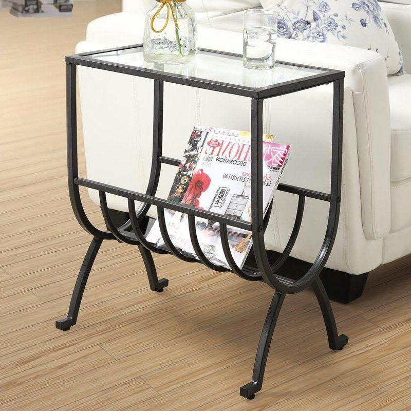 End Table Metal Magazine Basket Table Black Tempered Glass M