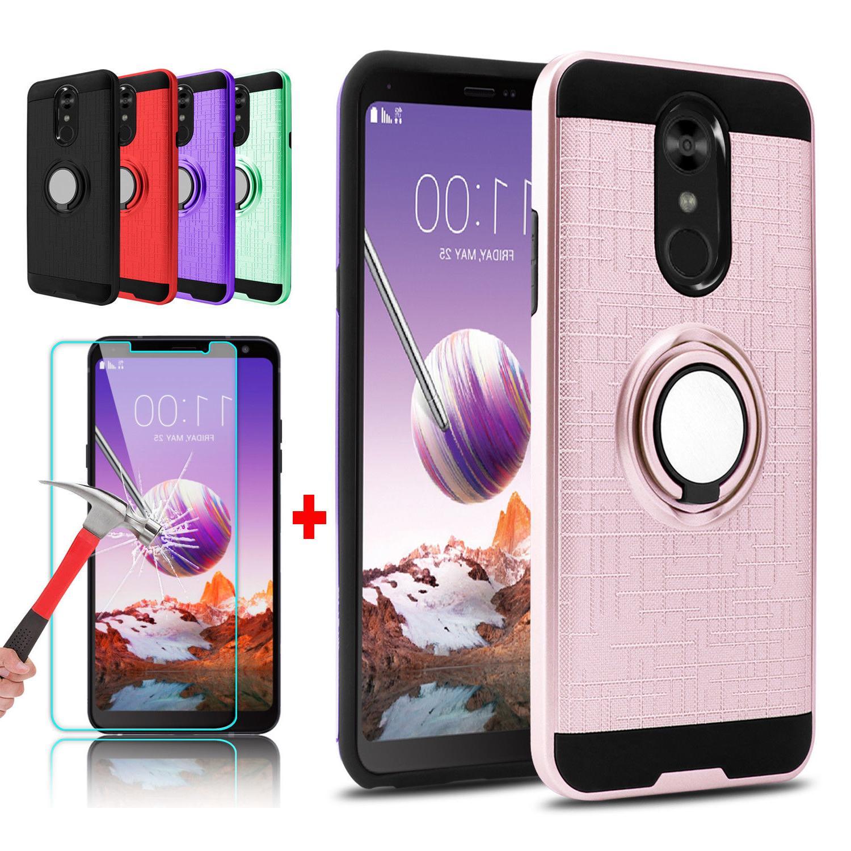 For LG Stylo 5/4 Plus Hybrid Slim Ring Stand Phone Case + Gl