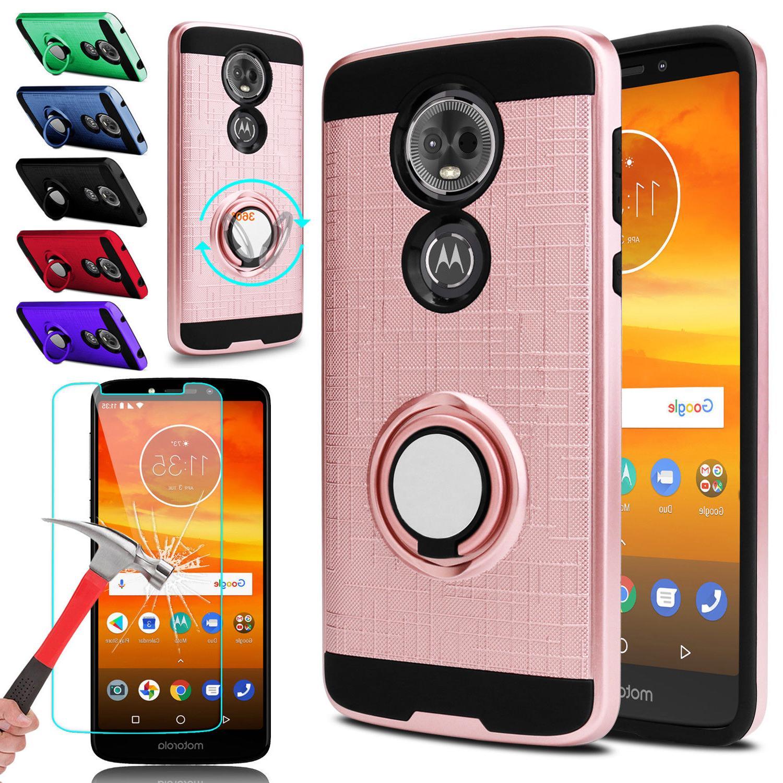 For Motorola Moto E5 Plus/Supra Stand Case Cover Tempered Gl
