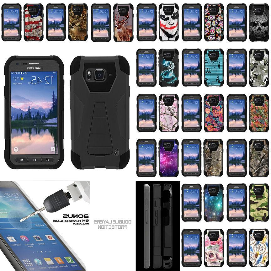 For Samsung Galaxy S6 Active G890 Armor Dual Layer Case Stan