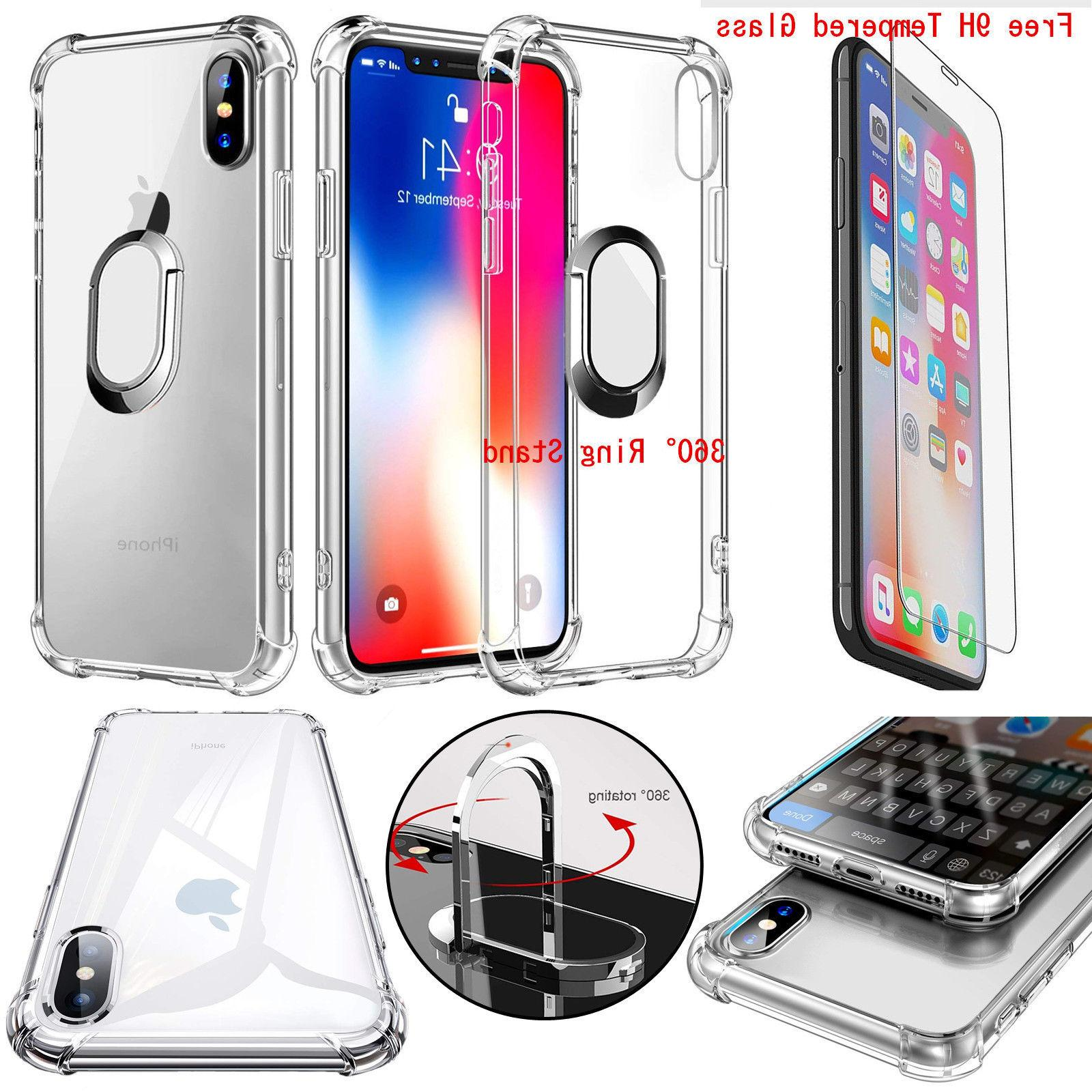 For Tempered Glass Clear Shockproof TPU Magnetic Ring Stand