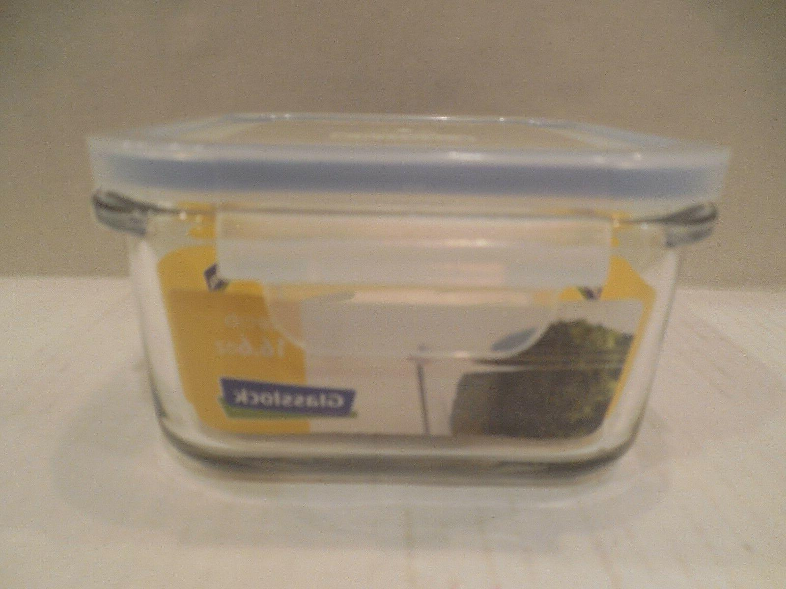 Glasslock Tempered Glass 16.6 Oz Square Glass Food Storage C