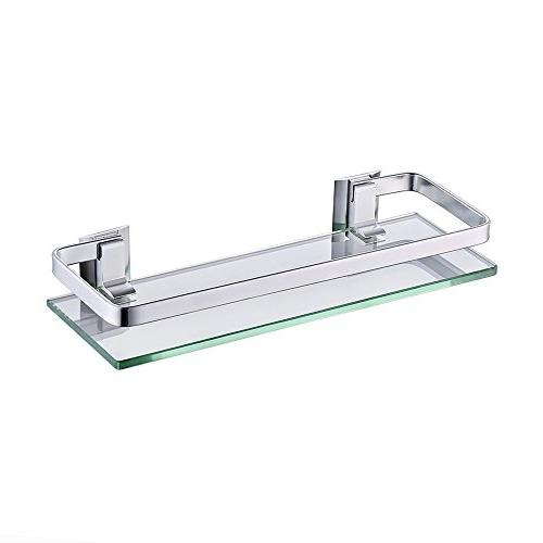 KES Aluminum Bathroom Glass Rectangular Shelf Wall Mounted T