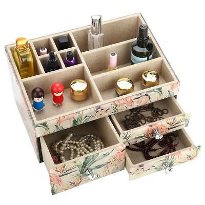 Large Tempered Glass Drawer Jewelry Box Cosmetic Organizer R