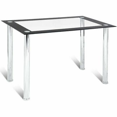 Modern Dining Table Tempered Glass Top Steel Frame Kitchen B