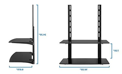 Mount-It! Wall Shelf For DVD Player, and Accessories, Tempered Glass Storage