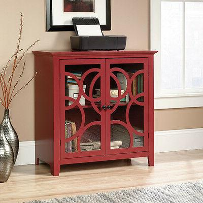 Red 2 Tempered Glass Doors Circle Motif Display Storage Cabi
