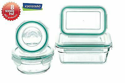snaplock lid tempered storage containers 8pc set